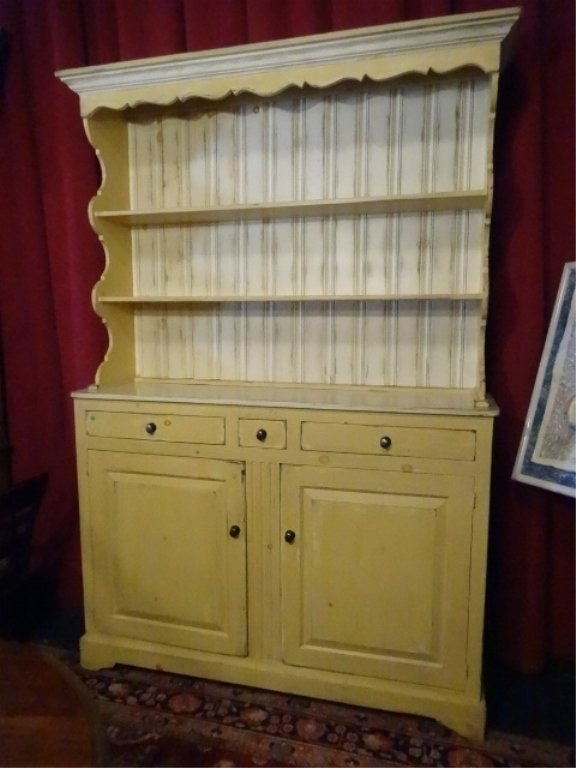 FRENCH COUNTRY BREAKFRONT WITH HUTCH TOP, YELLOW AND