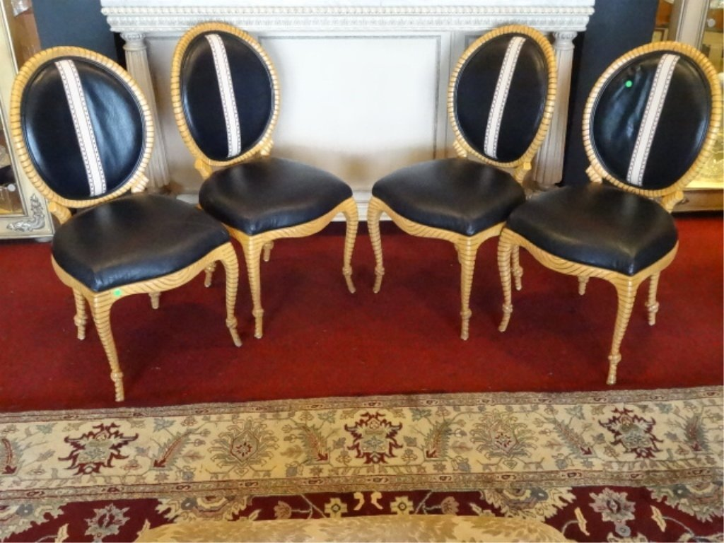 4 HOLLYWOOD REGENCY STYLE CHAIRS, ROPE AND TASSEL MOTIF