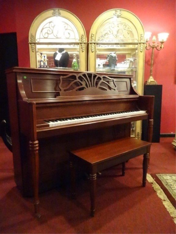 GEORGE STECK UPRIGHT PIANO, MODEL CS-19M, CHERRY SATIN