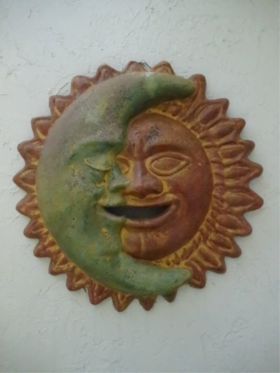 TERRA COTTA SUN AND MOON WALL PLAQUE, VERY GOOD