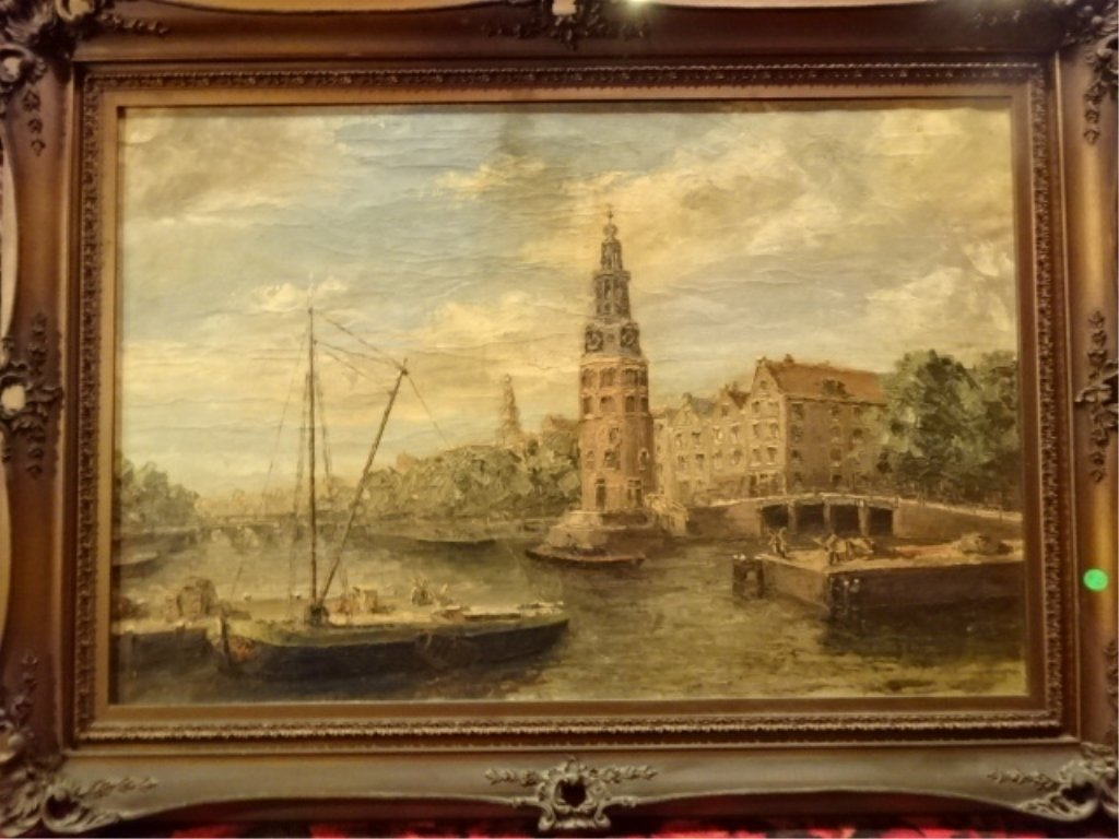 ANTIQUE OIL ON CANVAS PAINTING, EUROPEAN WATERFRONT