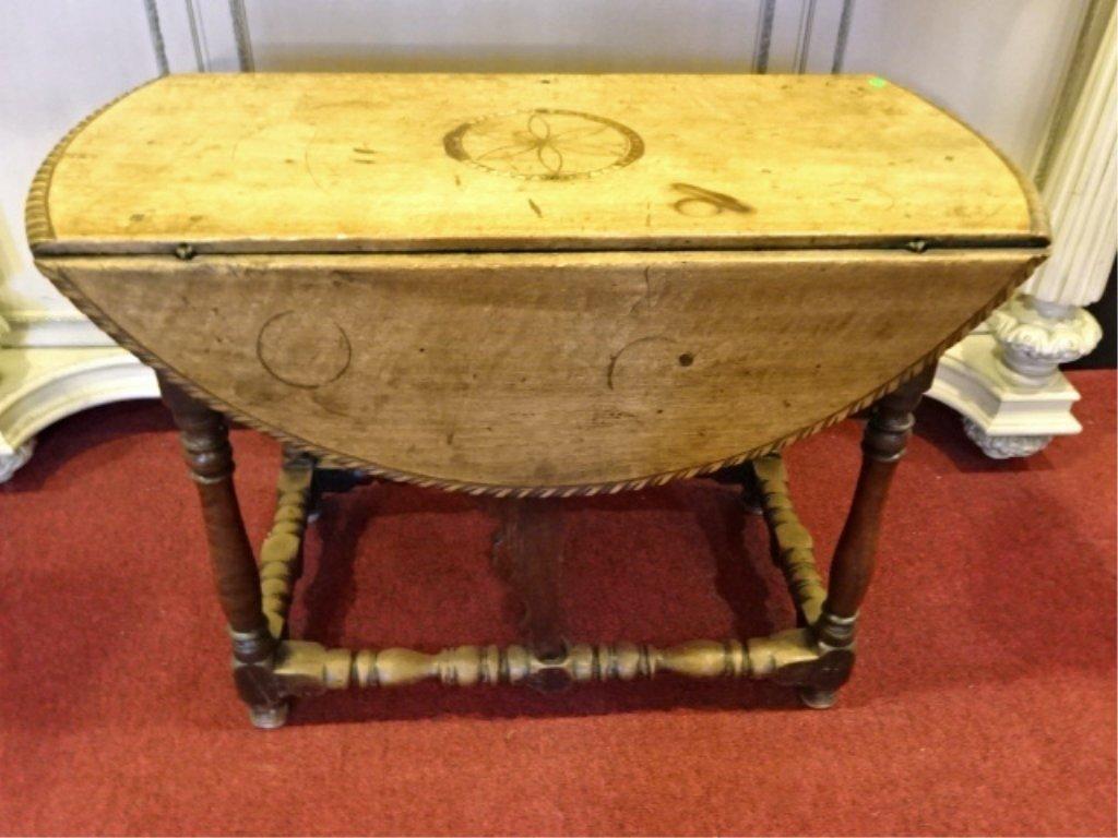 ANTIQUE INLAID ROUND DROP LEAF TABLE, 19TH C., 2