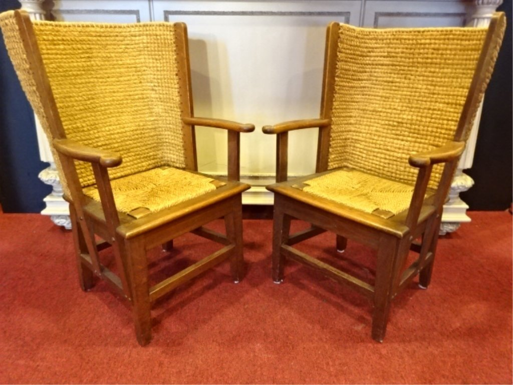 PAIR ANTIQUE WOOD AND WICKER ARMCHAIRS, CURVED WICKER
