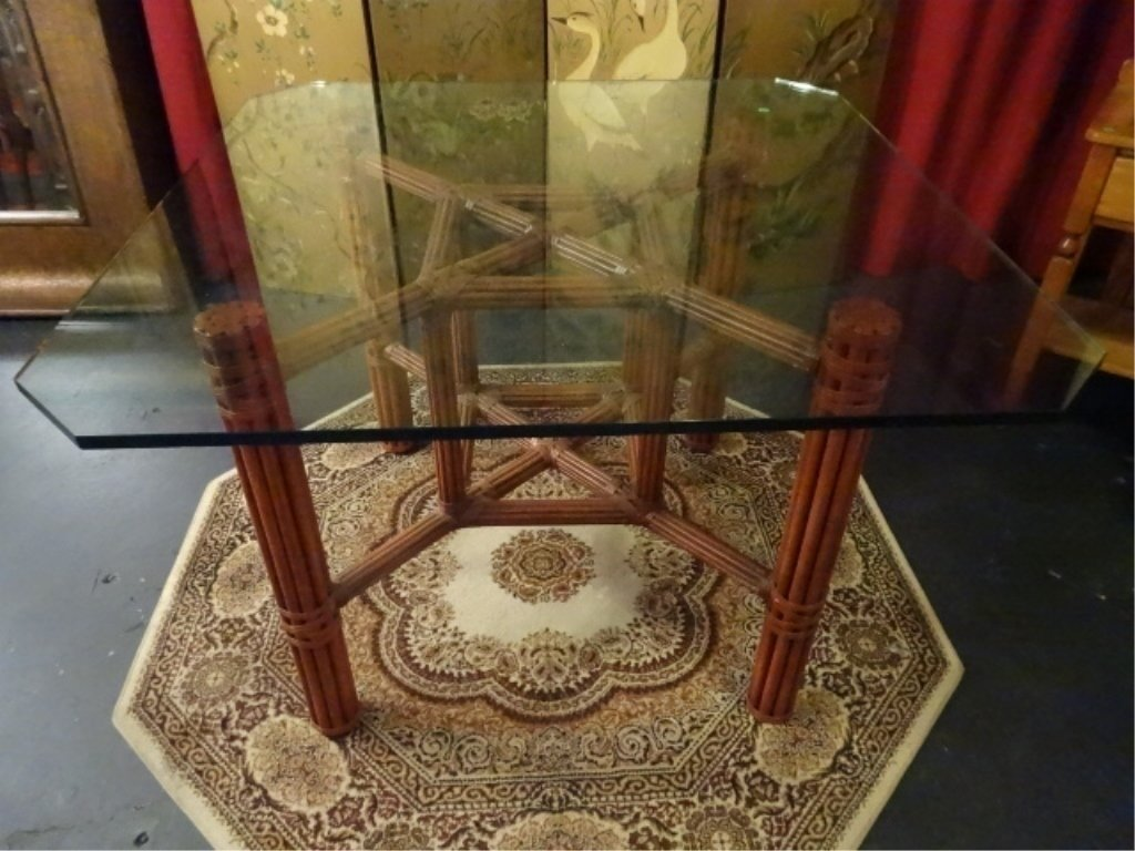 SQUARE RATTAN DINING TABLE WITH BEVELED GLASS TOP,