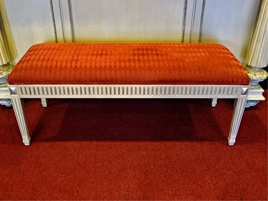 NANCY CORZINE NEOCLASSICAL BENCH, WHITE AND SILVER GILT