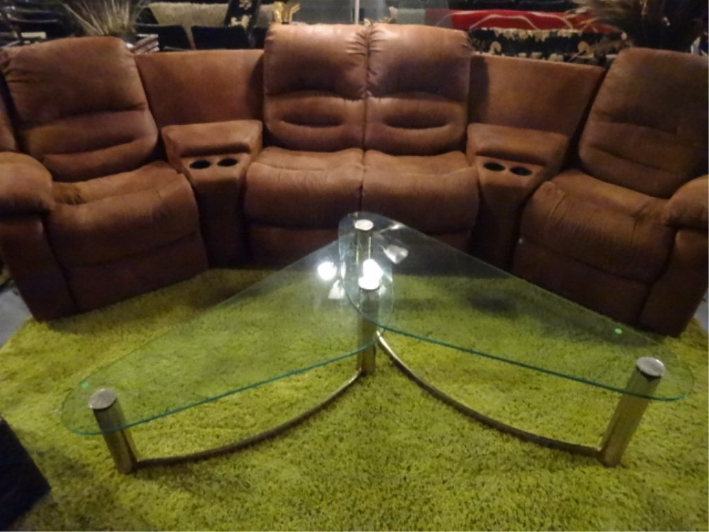 5 PC THEATER SEAT SECTIONAL, DUAL RECLINERS, CUP