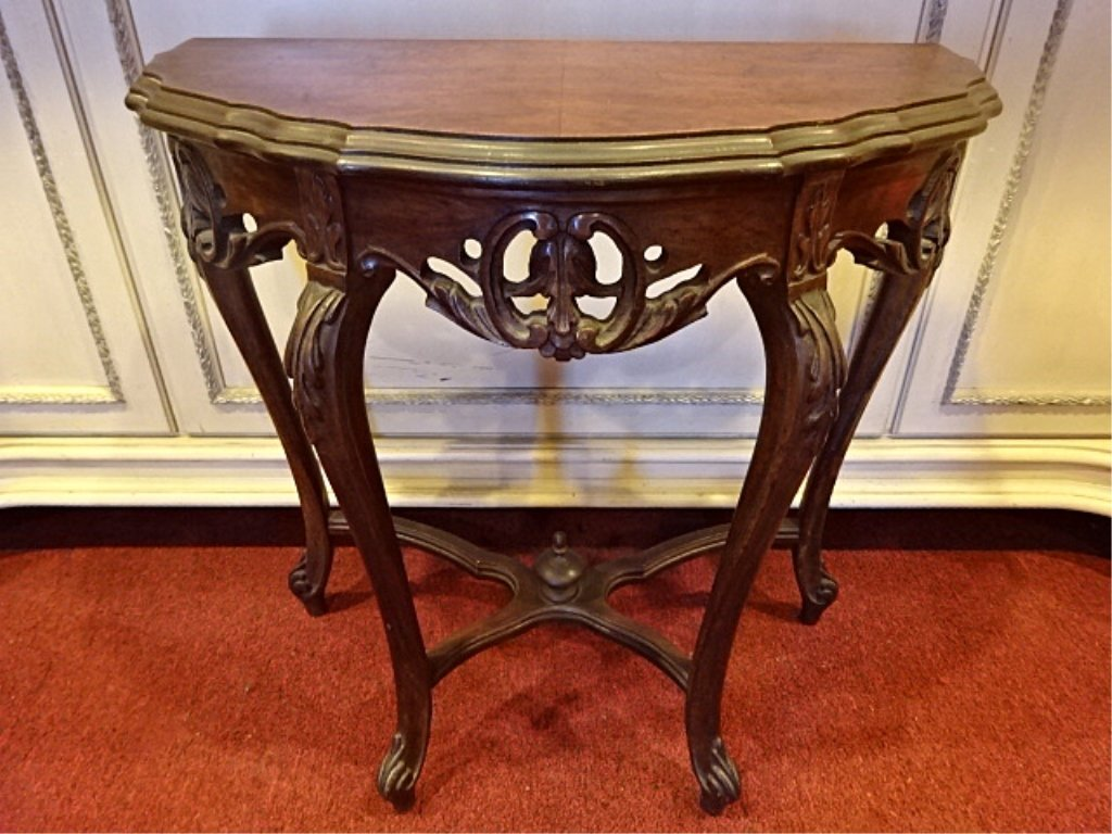 ANTIQUE CARVED MAHOGANY DEMI LUNE TABLE, VERY GOOD