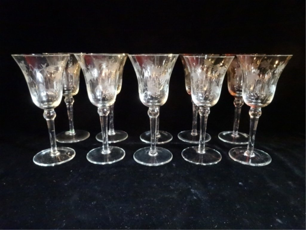 "10 VINTAGE ETCHED CRYSTAL WINE GLASSES, APPROX 7.5""H,"