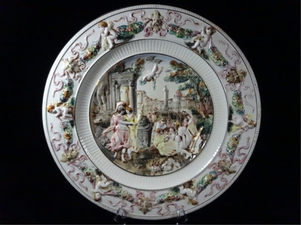R. CAPODIMONTE PORCELAIN PLATTER, WITH WALL HANGING