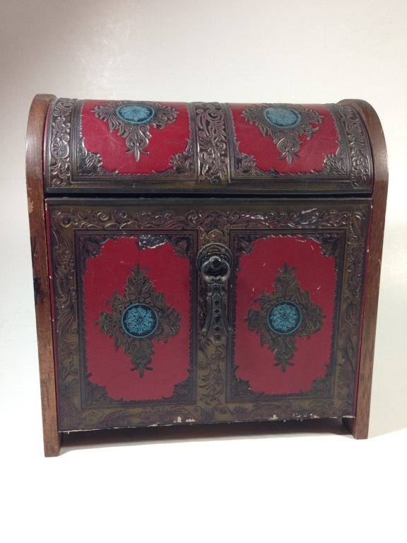 JEWELRY BOX / CASKET, LEATHER WRAPPED WITH WOOD, SOME