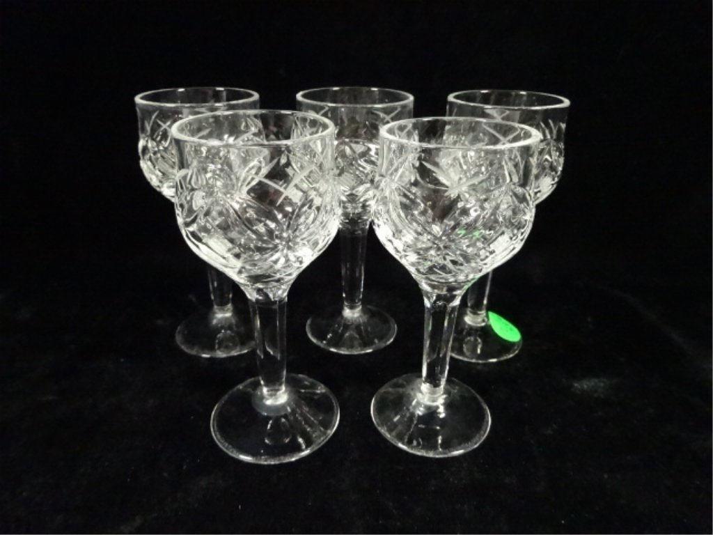 "5 CRYSTAL CORDIAL GLASSES, APPROX 4 3/8""H"