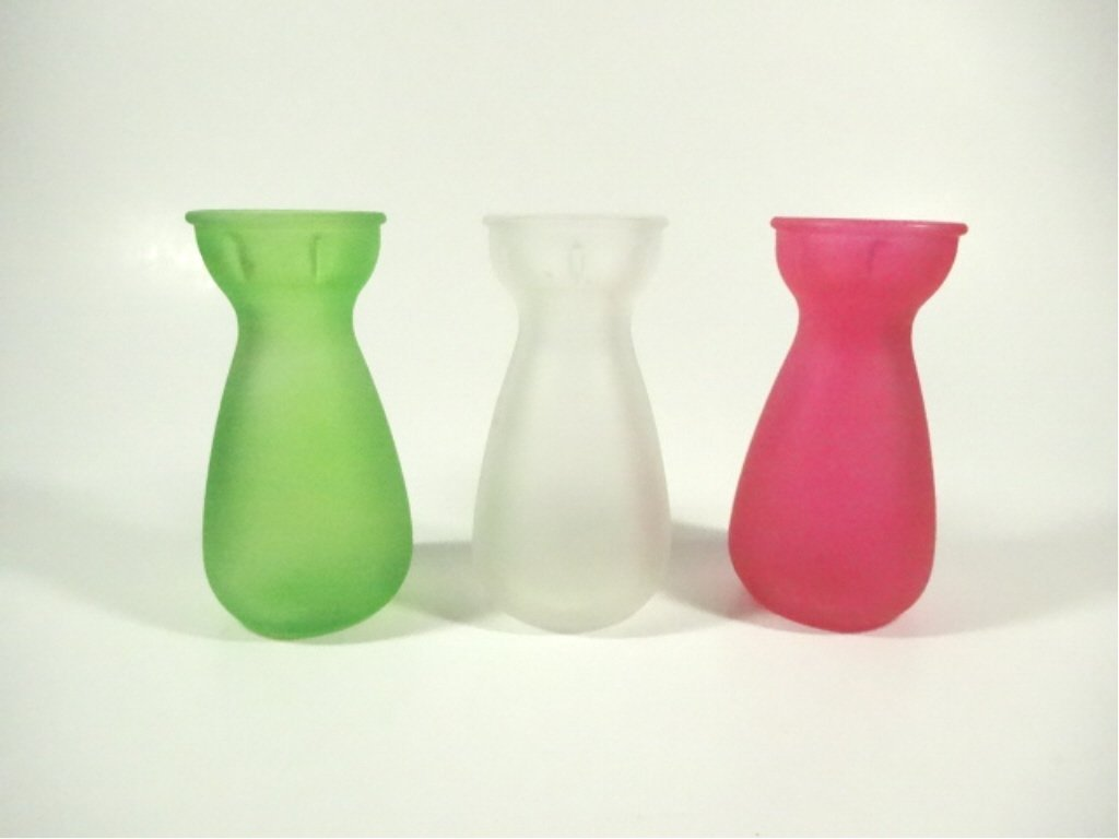 3 PC MINIATURE BUD VASES, FROSTED GLASS IN GREEN, WHITE
