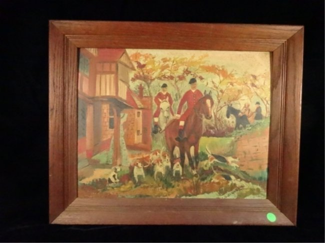 PAINTING ON BOARD, FOX HUNTING SCENE, SIGNED LOWER