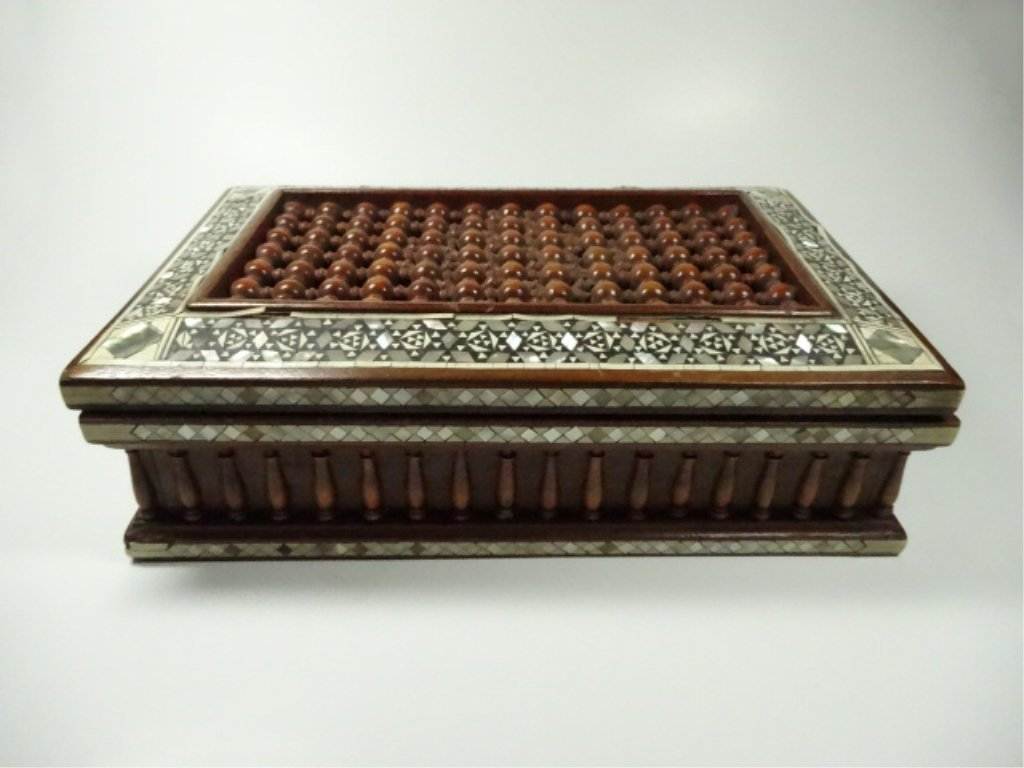 INLAID BOX, OPENWORK TOP, SMALL AREAS OF MISSING INLAY,