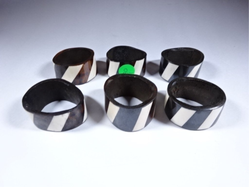 """6 CARVED WOOD NAPKIN RINGS, STRIPED DESIGN, 2""""W,"""