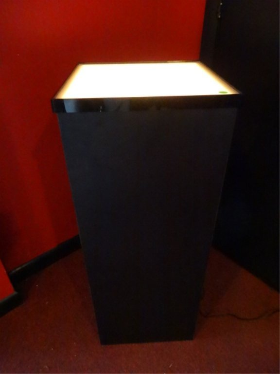 LIGHTED WOOD PEDESTAL, LIGHTED TOP WITH ACRYLIC