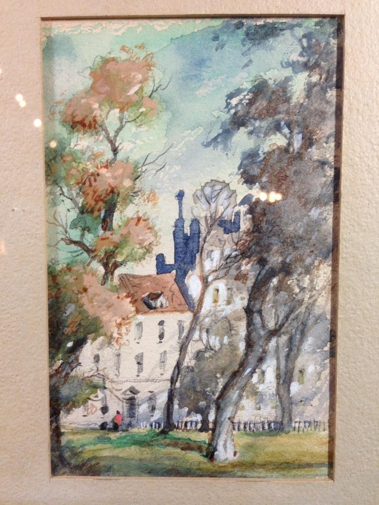 SMALL WATERCOLOR, FALL SCENE, FRAMED SIZE APPROX 11.25""
