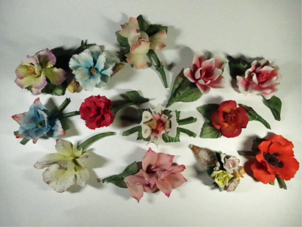 13 PC CAPODIMONTE PORCELAIN FLOWERS, ALL MARKED, SOME