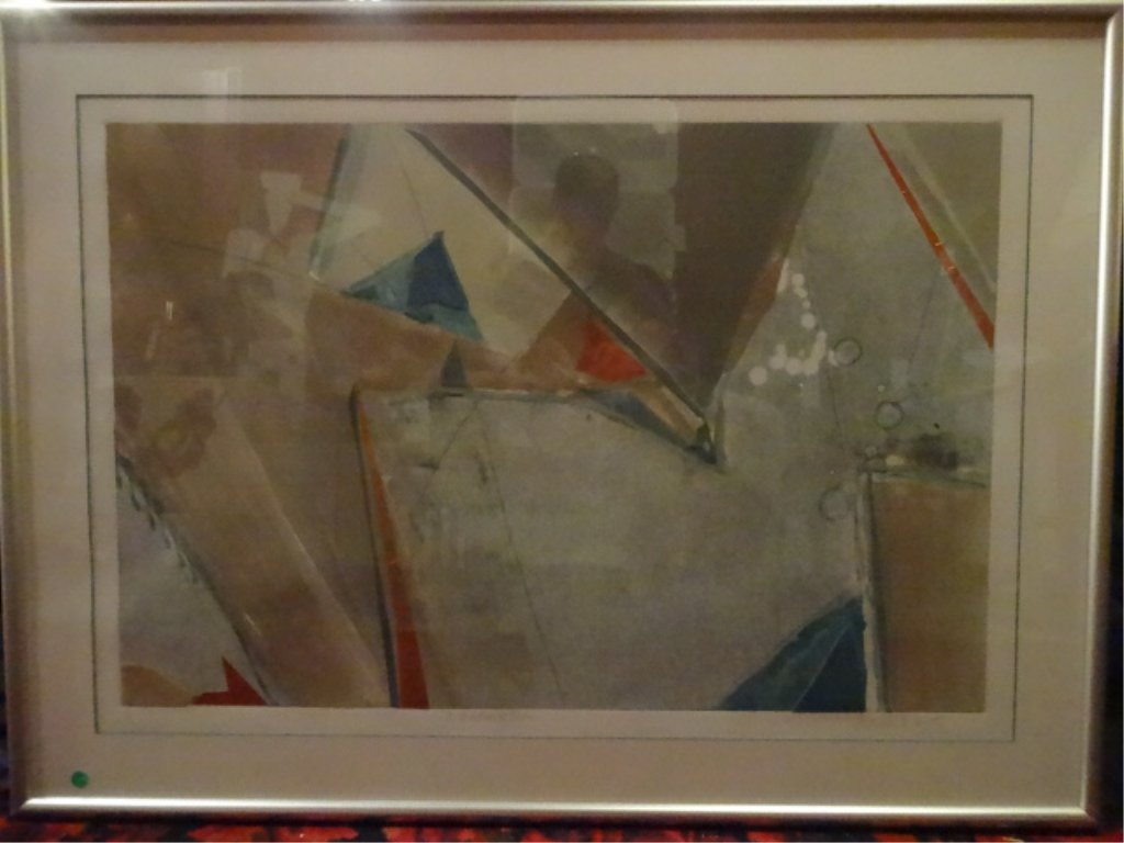 PATRICIA A BEATTY MIXED MEDIA ABSTRACT WITH COPPER