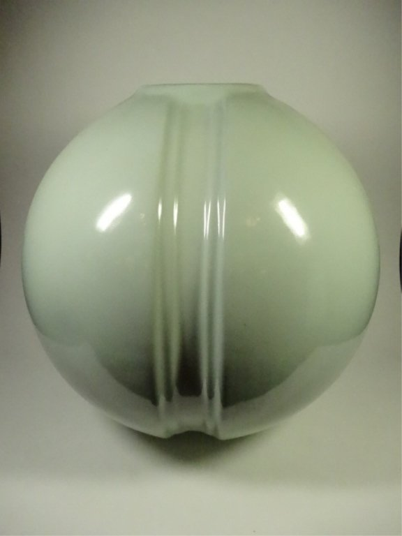 LARGE ROUND VASE, PALE GREEN, WITH CERAMICA ARTISTICA