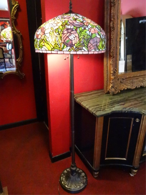 TIFFANY STYLE LEADED GLASS FLOOR LAMP, DOME SHADE WITH