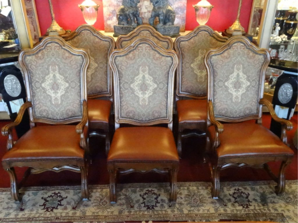 6 FRENCH STYLE DINING CHAIRS. LEATHER SEATS, NAILHEAD