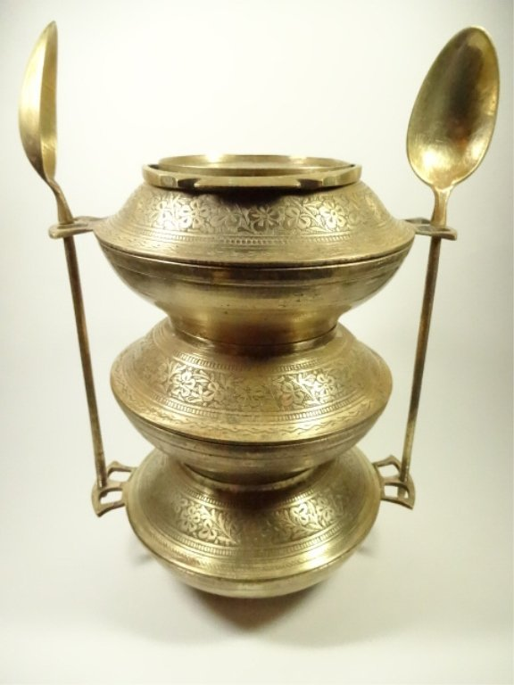 BRASS TIFFIN CARRIER / LUNCH BOX, 3 BOWLS, 2 SPOONS,