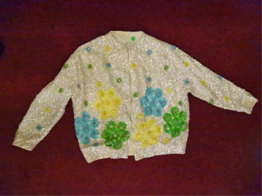 WHITE BEAD & SEQUIN JACKET WITH MULTIPLE COLORED