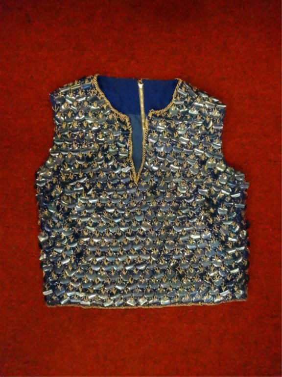 BLUE SEQUIN & GOLD BEAD TOP, SLEEVELESS, SIZE 8