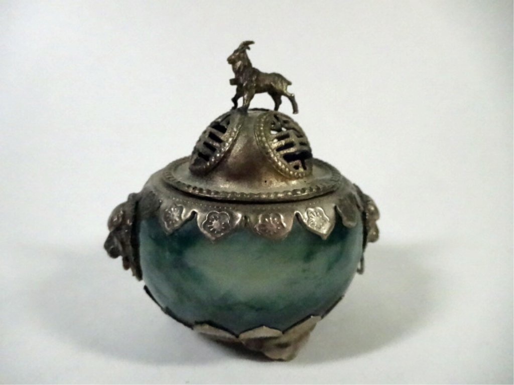 CHINESE INCENSE BURNER, CARVED HARDSTONE WITH SILVER