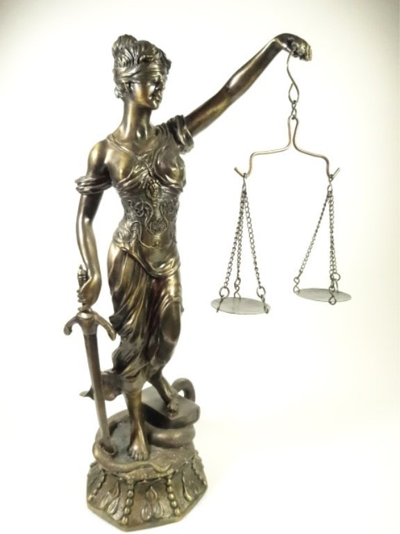 """LADY JUSTICE BRONZE FINISH SCULPTURE, APPROX 14.5""""H"""