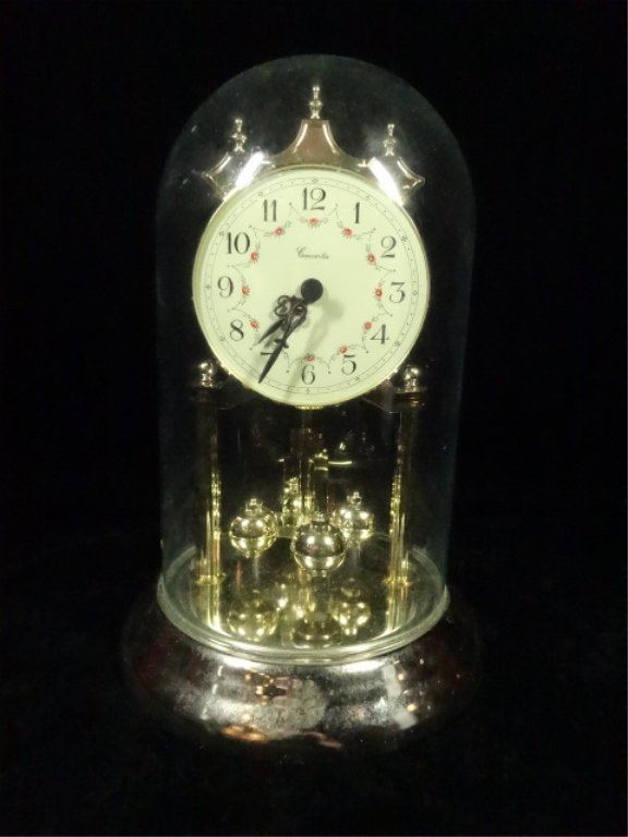 """CONCORDIA GLASS DOME MANTLE CLOCK, APPROX 9""""H, BATTERY"""