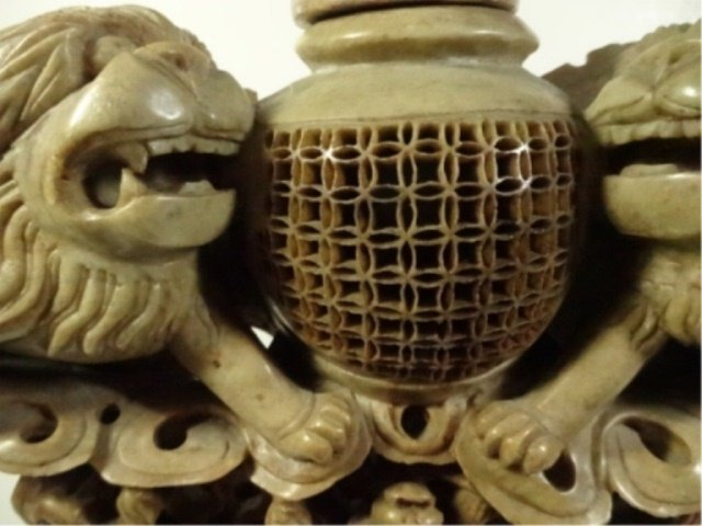 LARGE CHINESE CARVED STONE INCENSE BURNER, FOO LIONS, - 2