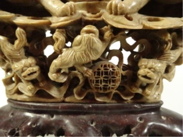 LARGE CHINESE CARVED STONE INCENSE BURNER, FOO LIONS, - 3