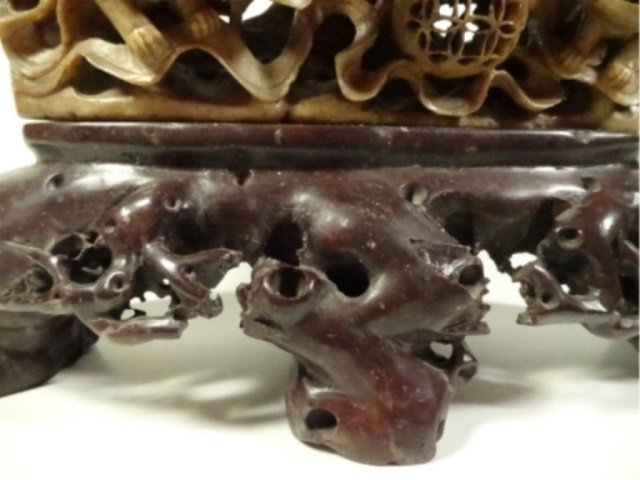 LARGE CHINESE CARVED STONE INCENSE BURNER, FOO LIONS, - 4