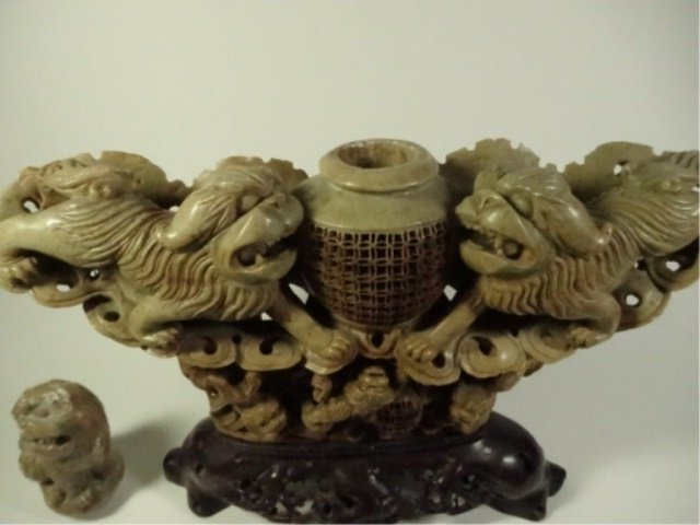 LARGE CHINESE CARVED STONE INCENSE BURNER, FOO LIONS, - 8