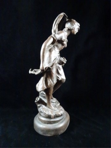 AFTER AUGUSTE MOREAU FIGURAL SCULPTURE, YOUNG WOMAN, - 2