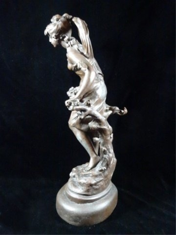 AFTER AUGUSTE MOREAU FIGURAL SCULPTURE, YOUNG WOMAN, - 8