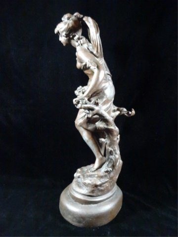 AFTER AUGUSTE MOREAU FIGURAL SCULPTURE, YOUNG WOMAN, - 9