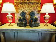 PAIR LARGE CRYSTAL LAMPS GILT METAL BASES AND BIRDS