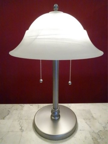 NICKEL FINISH METAL LAMP, GLASS SHADE, EXCELLENT