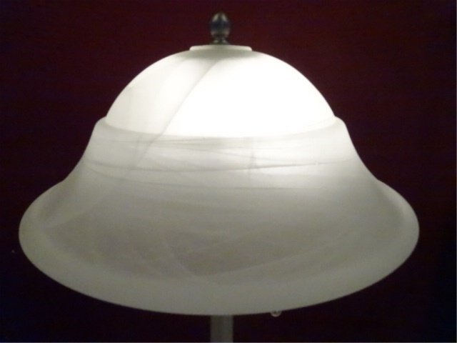NICKEL FINISH METAL LAMP, GLASS SHADE, EXCELLENT - 2