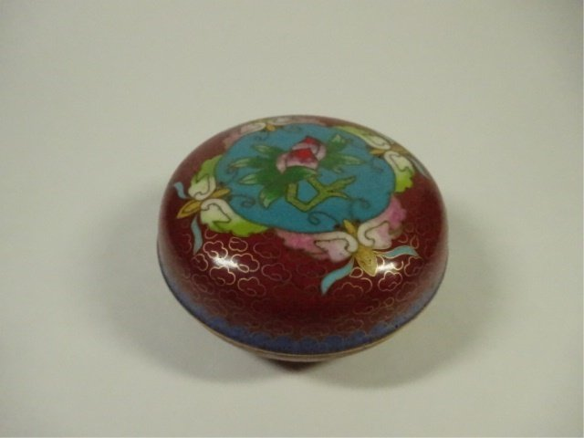 CLOISONNE ROUND BOX WITH LID, MADE IN TIANTIN, APPROX