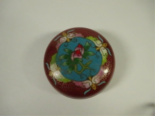 CLOISONNE ROUND BOX WITH LID, MADE IN TIANTIN, APPROX - 2