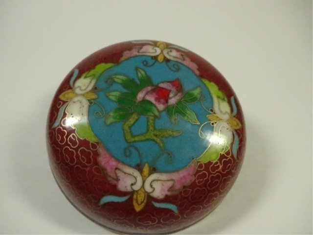 CLOISONNE ROUND BOX WITH LID, MADE IN TIANTIN, APPROX - 3