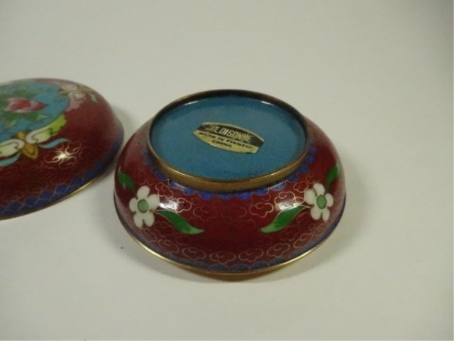 CLOISONNE ROUND BOX WITH LID, MADE IN TIANTIN, APPROX - 5