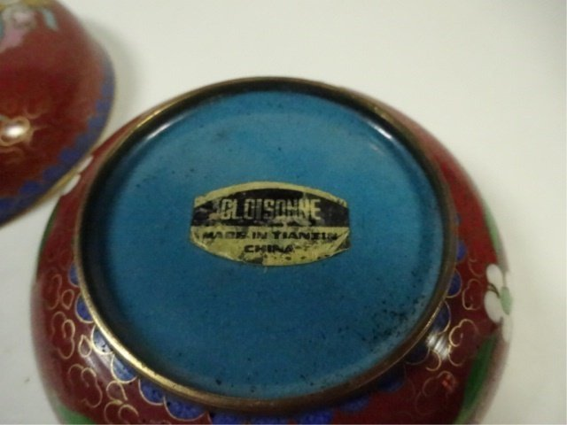 CLOISONNE ROUND BOX WITH LID, MADE IN TIANTIN, APPROX - 6