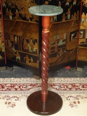 MARBLE TOP WOOD PEDESTAL, VERY GOOD CONDITION, APPROX