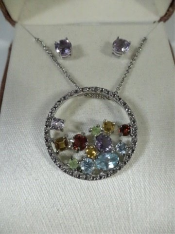 PENDANT & EARRINGS SET, SEMI-PRECIOUS STONES & DIAMOND, - 2