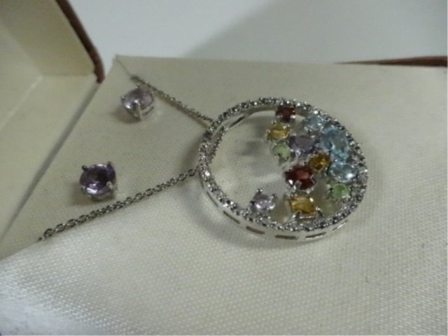 PENDANT & EARRINGS SET, SEMI-PRECIOUS STONES & DIAMOND, - 3